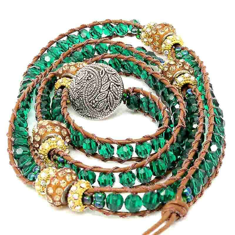 Agaya's Ladder Emerald Green Wrap Bracelet