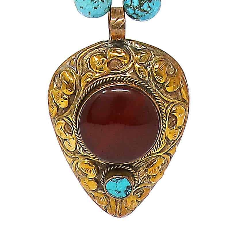 Carnelian Tibetan Necklace Pendant