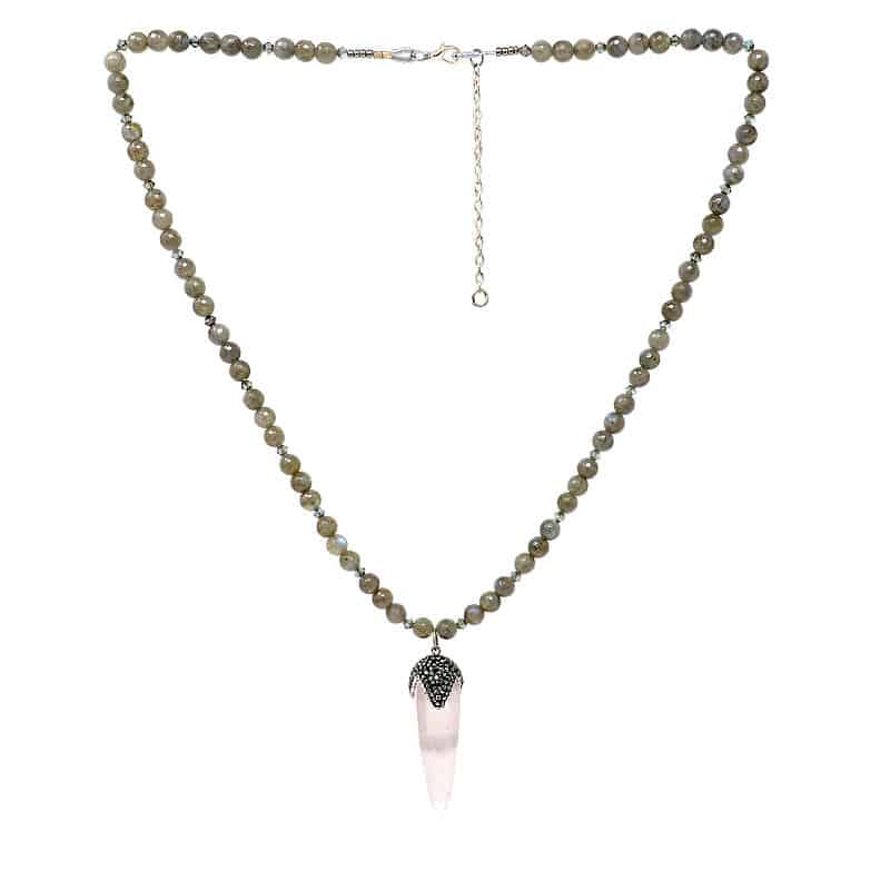 Spire Rose Quartz and Labradorite Necklace