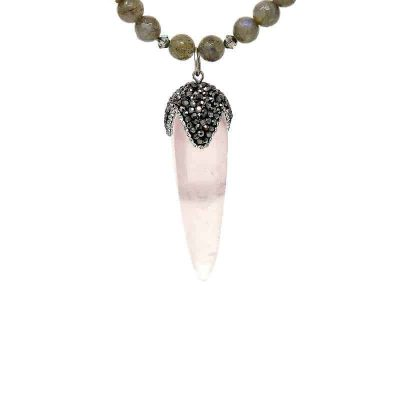 Spire Rose Quartz and Labradorite Necklace - pendant