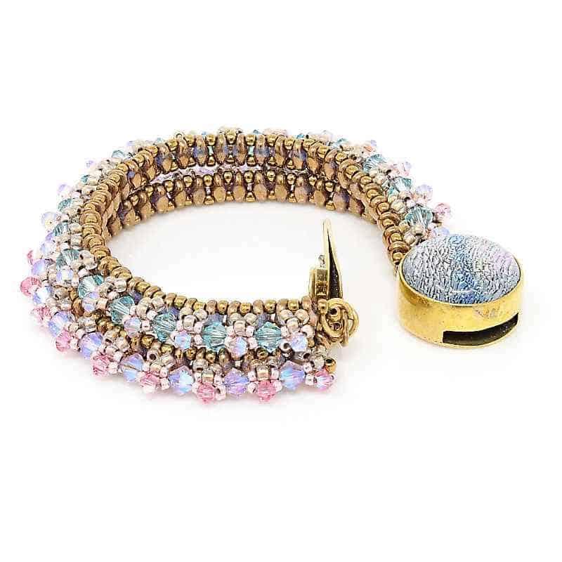 Two-Strand Crystal Bracelet with Swarovski Clasp - clasp