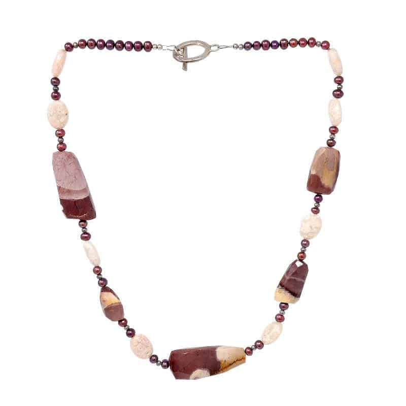 Mookaite Jasper and Freshwater Pearl Necklace