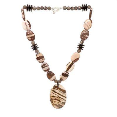 Zebra Jasper Smoky Quartz Necklace