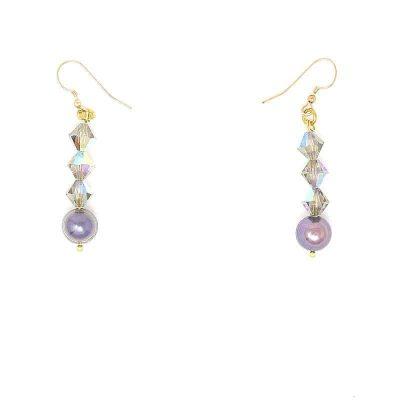 Swarovski Black Diamond Pearl Crystal Earrings
