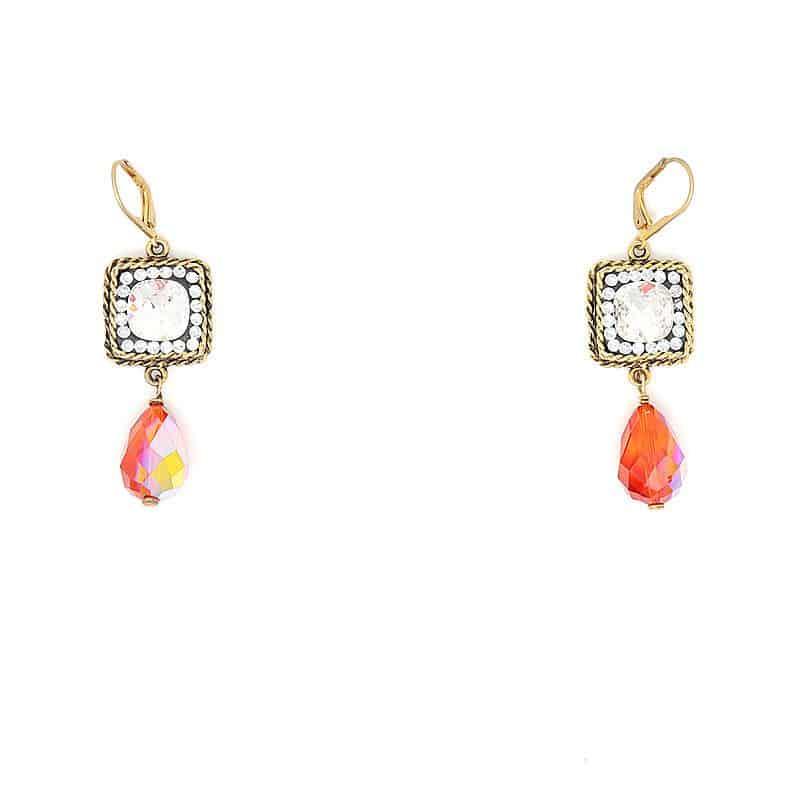 Swarovski Orange Crystal Earrings