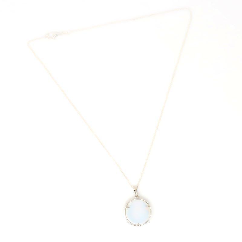 Opalite Moon Pendant Necklace - Back