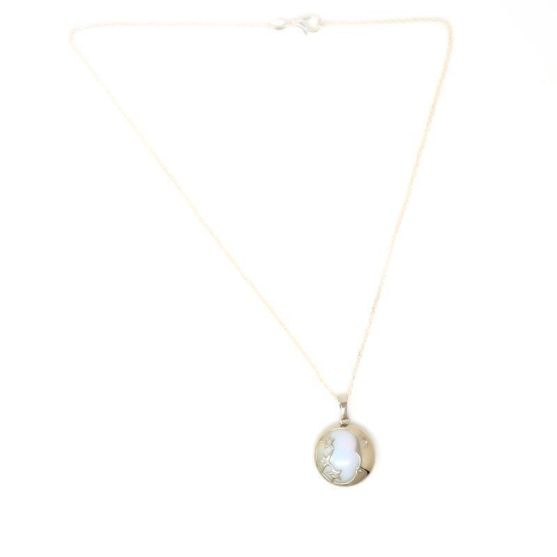 Opalite Moon Pendant Necklace - Front