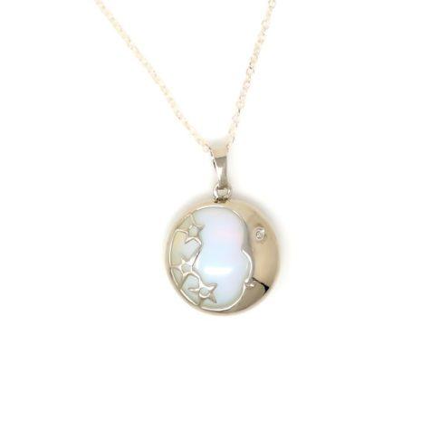 Opalite Moon Pendant Necklace - Pendant