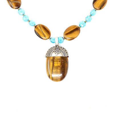 Sterling Silver Tiger Eye Necklace - Pendant