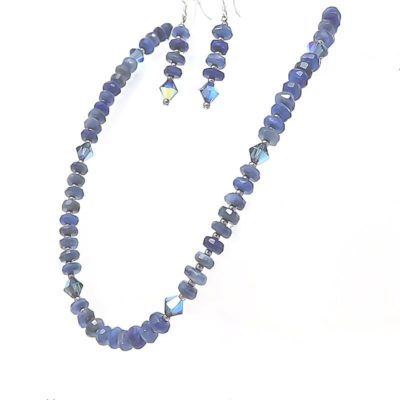 Blue Kyanite Gemstone Necklace and Earring Set