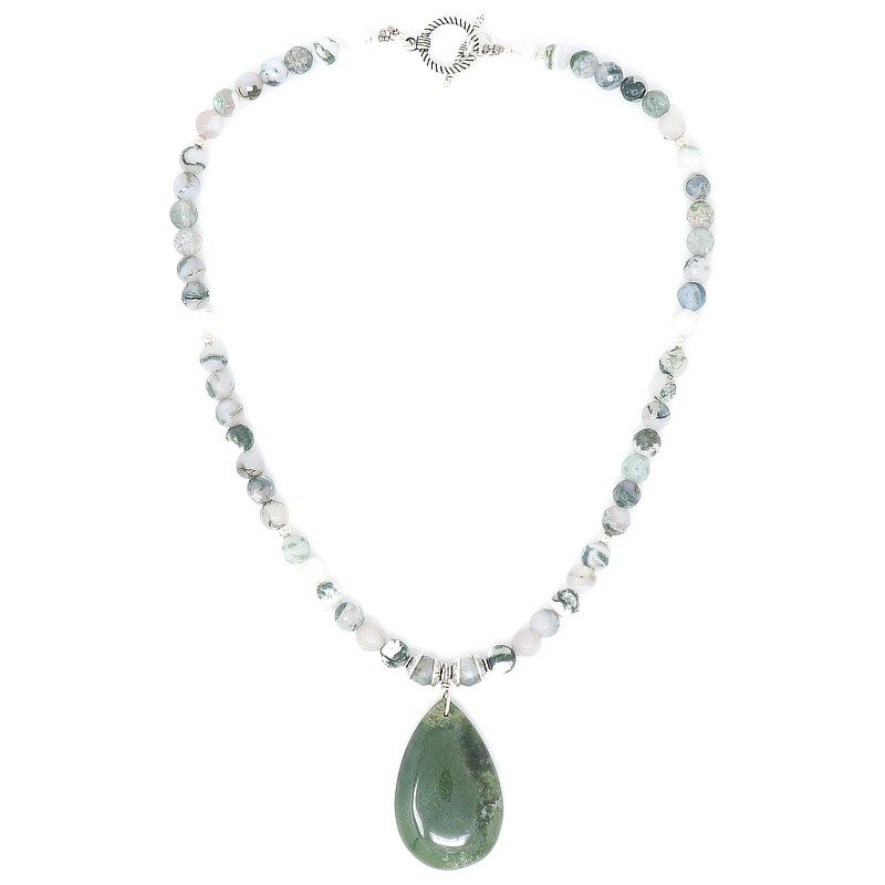 Moss Agate Sterling Silver Pendant Necklace