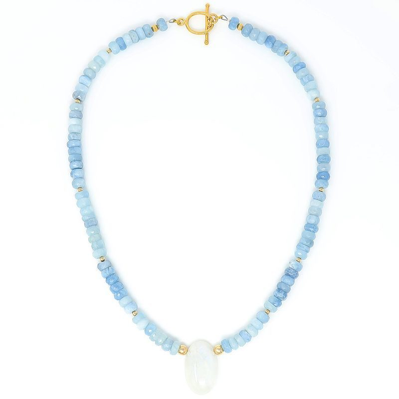 Rainbow Moonstone Aquamarine Gold Pendant Necklace